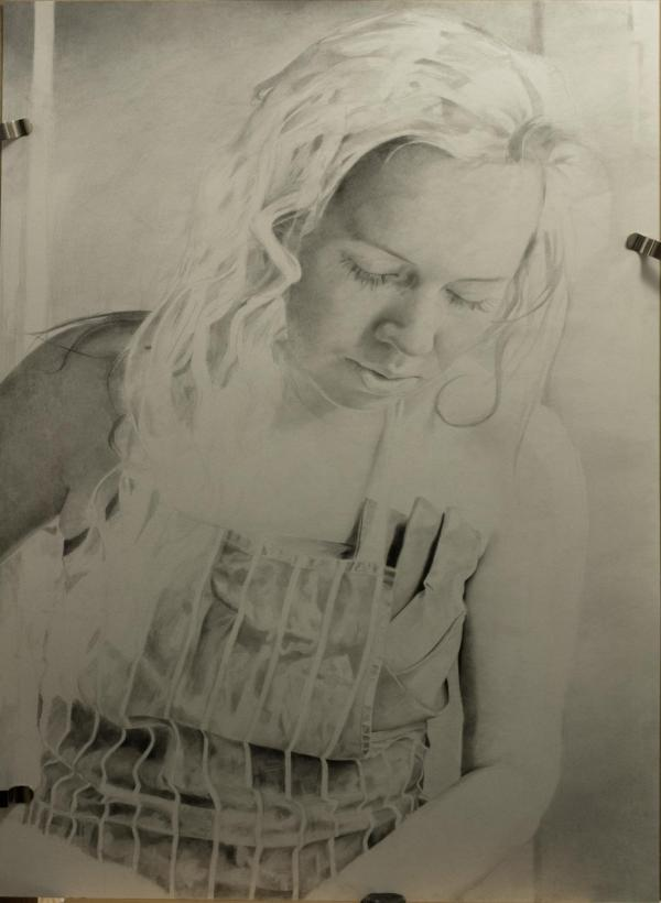 Pencil portrait progress: Jess in Apron - 100 hours