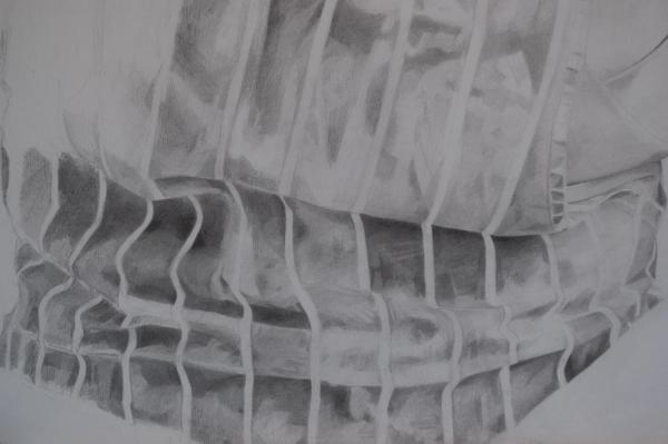Detail - Pencil portrait progress: Jess in Apron - 45 hours